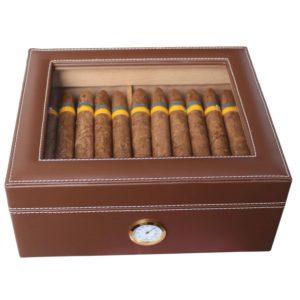 AMANCY Quality Brown Leather Handmade 25-50 Cigar Humidor ,Desktop Cedar Wood Lined Cigar Storage box