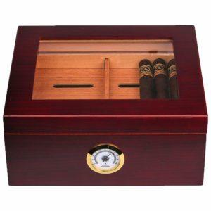 Mantello 25-50 Cigar Desktop Humidor Royale Glasstop