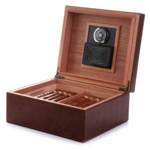 MEGACRA Desktop Cigar Humidor, Cedar & Leather Ciga